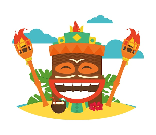 Masque tiki hawaïen et torche autour