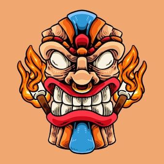 Masque tiki et personnage de feu