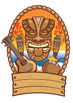 Masque tiki avec ukulélé et illustration plate de noix de coco
