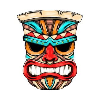Masque de visage en colère de l'île tiki avec la couleur vive comme ornement