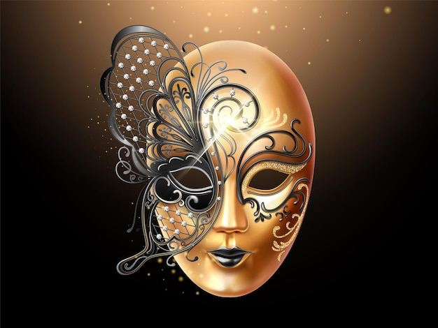 Masque volto orné de diamants et de dentelle papillon. conception de couverture de visage pour la fête ou le carnaval, la mascarade et la célébration de vacances. masque homme et femme. thème du mardi gras italien ou vénitien
