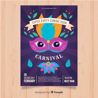 Masque avec des yeux affiche du parti de carnaval brésilien