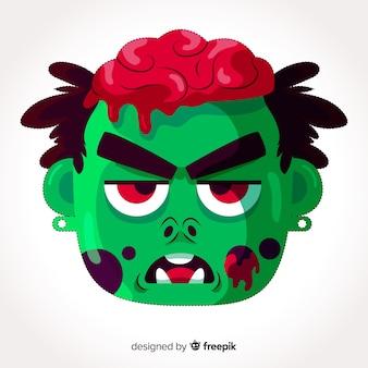 Masque de zombie halloween au design plat