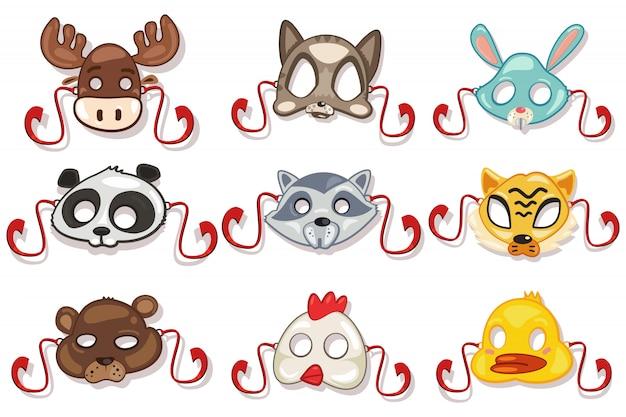Masques animaux prêts pour la fête. isolé