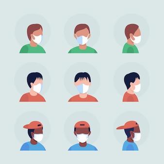 Masques blancs chirurgicaux jeu d'avatar de caractère vectoriel couleur semi-plat