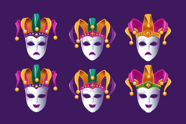 Masques de carnaval de comédie et de tragédie avec chapeau de bouffon