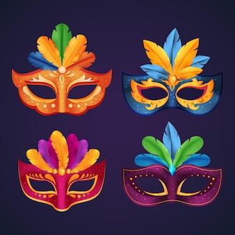 Masques de carnaval vénitien colorés en 2d