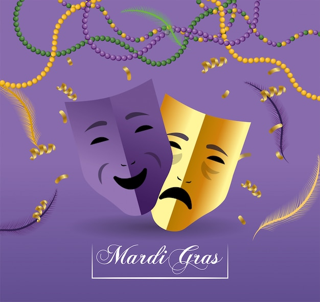 Masques avec collier et plumes de merdi gras