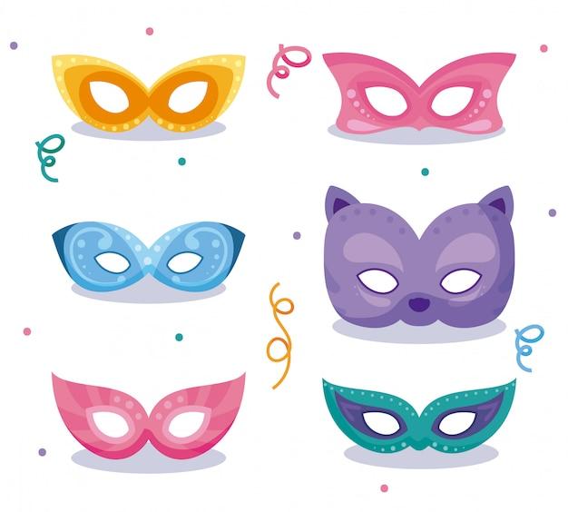 Masques et confettis de mardi gras