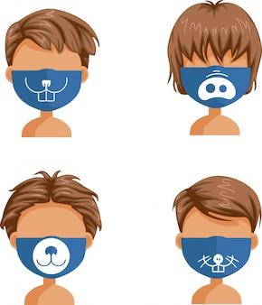 Masques de garçons. ensemble de masque de mode. masques pour collection garçon.