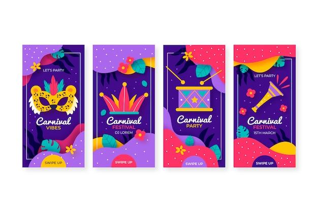 Masques et instruments de musique carnaval collection d'histoires instagram