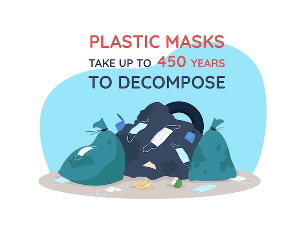 Masques en plastique 2d . catastrophe naturelle du covid. faire face aux ordures pandémiques.
