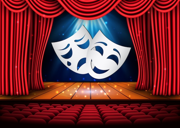 Masques de théâtre heureux et tristes, scène théâtrale avec rideaux rouges. illustration.