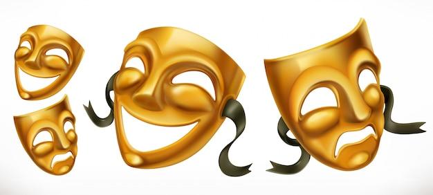 Masques de théâtre d'or. icône 3d de comédie et de tragédie