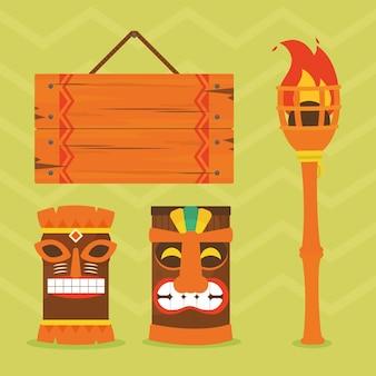 Masques tiki et icônes associées