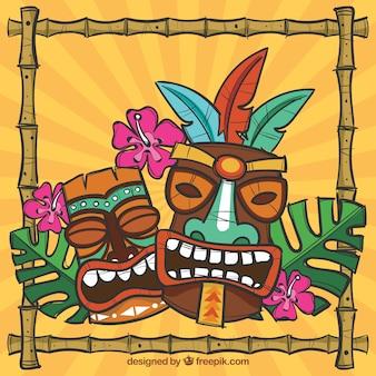 Masques tribaux, cadre et fleurs avec style ethnique