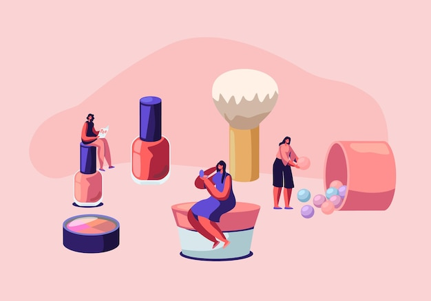 Masterclass cosmétique, soins du visage et beauté. femmes en salon d'esthéticienne. personnages féminins testant des produits de soins de la peau en salon.