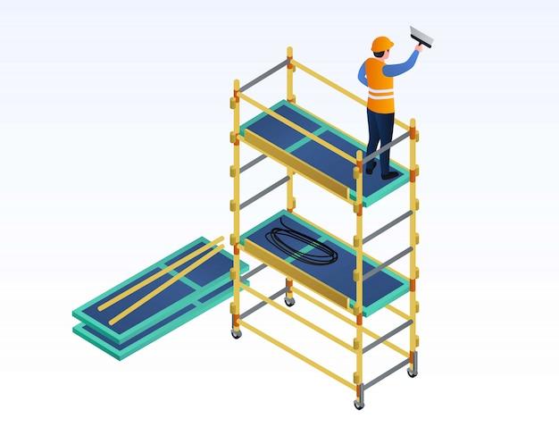 Mastic de travailleur sur l'illustration de l'échafaudage, style isométrique