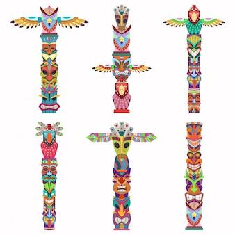 Mât totémique traditionnel avec masque tiki et aigle. ensemble d'icônes plat dessin animé isolé sur fond blanc.