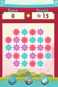Match 3 interface de jeu avec des fleurs
