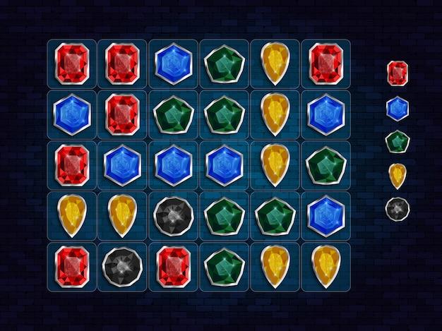 Match 3 jeu d'éléments de design ui