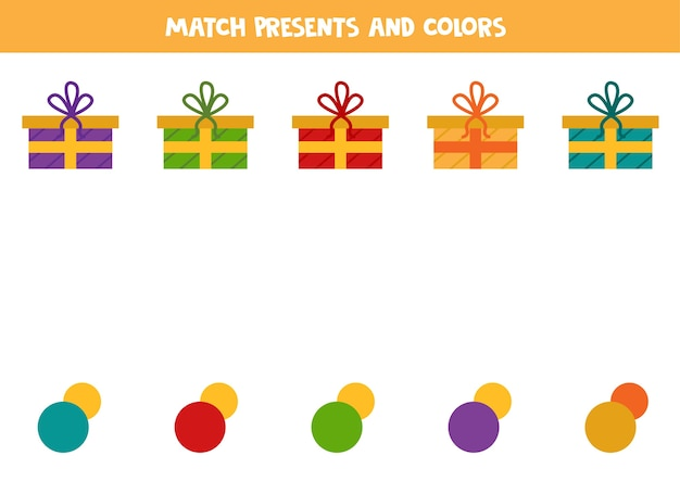 Match de bande dessinée présente avec des couleurs jeu logique éducatif pour les enfants