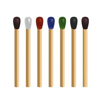 Match bâton ensemble. 3d réaliste clip-art