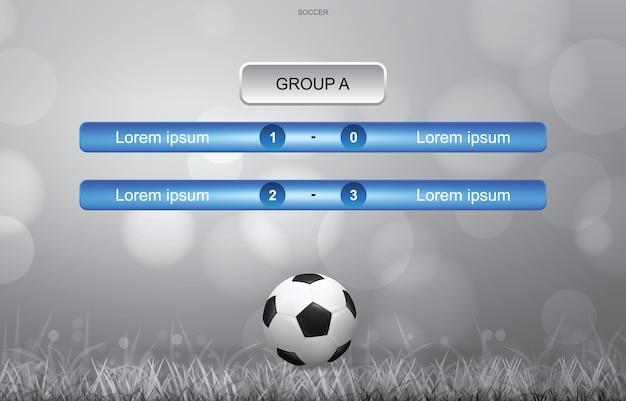 Match calendrier d'arrière-plan de la coupe de football avec fond clair bokeh floue.