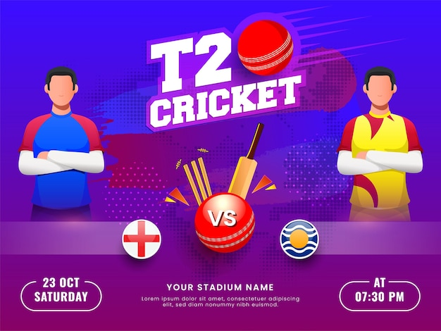 Match de cricket t20 entre l'angleterre et les antilles avec des joueurs sans visage sur fond dégradé bleu et violet en demi-teinte.