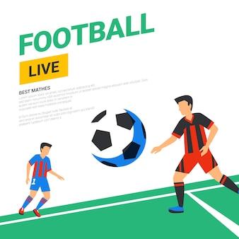 Match de diffusion en direct de bannière web de football