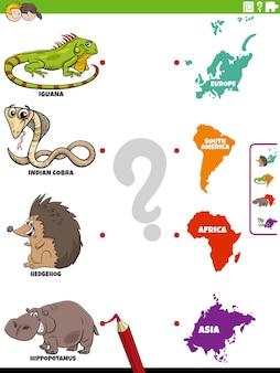 Match éducatif des espèces animales et des continents