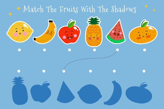 Match de jeu avec des illustrations de fruits