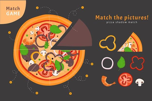 Match de jeu avec des ingrédients de pizza