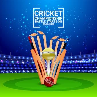 Match de la ligue mondiale de cricket avec des éléments de cricket