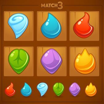 Match mobile game, objets de jeux, terre, eau, feu, éléments de la nature