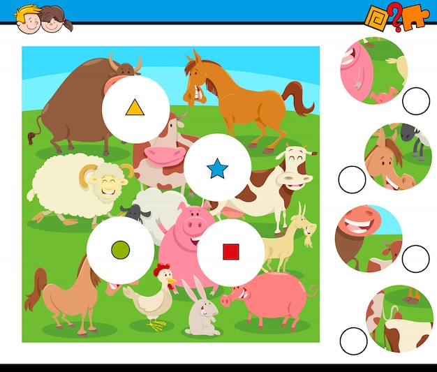 Match morceaux avec groupe d'animaux de la ferme