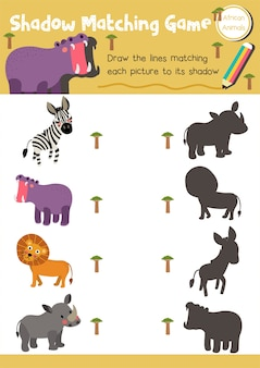 Match d'ombre jeu animal africain