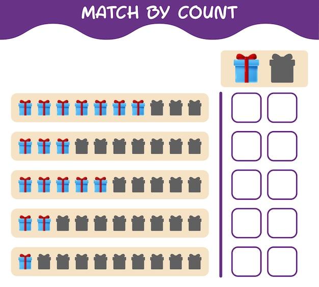 Match par nombre de boîte-cadeau de dessin animé. match et compte jeu. jeu éducatif pour les enfants et les tout-petits de la maternelle