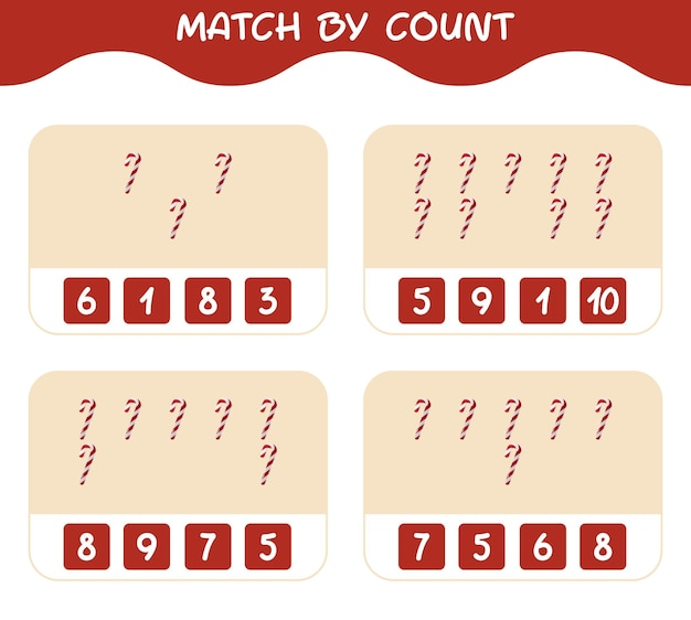 Match par nombre de canne en bonbon de dessin animé. match et compte jeu. jeu éducatif pour les enfants et les tout-petits de la maternelle