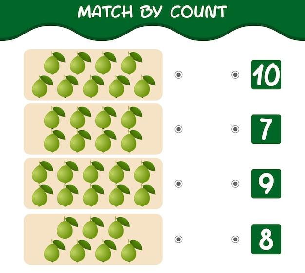 Match par nombre de goyaves de dessin animé jeu éducatif