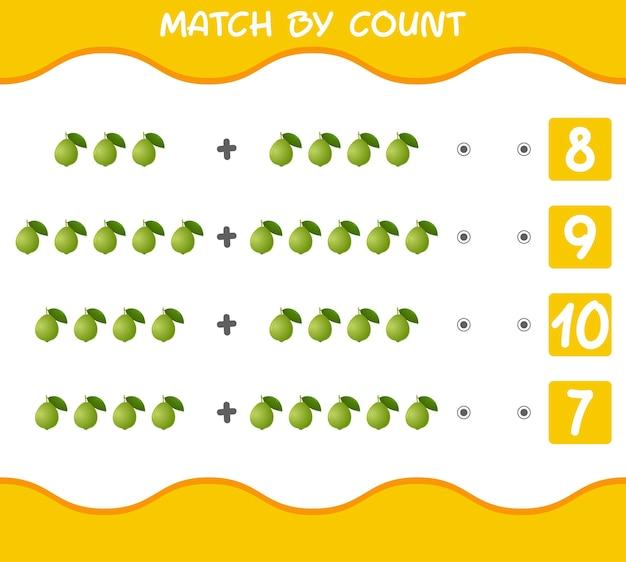Match par nombre de goyaves de dessin animé. match et jeu de comptage. jeu éducatif pour les enfants et les tout-petits de la pré-école