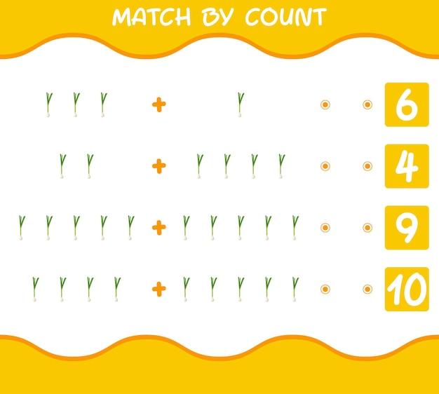 Match par nombre d'oignons de printemps de dessin animé. match et compte jeu. jeu éducatif pour les enfants et les tout-petits de la maternelle
