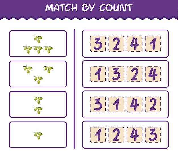 Match par nombre d'olives de dessin animé. match et jeu de comptage. jeu éducatif pour les enfants et les tout-petits de la pré-école