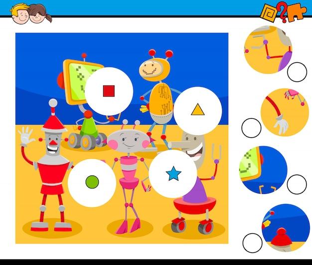 Match pièces puzzle avec des robots mignons