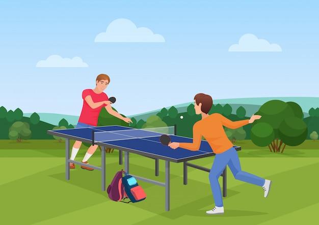 Match de ping-pong de tennis de table