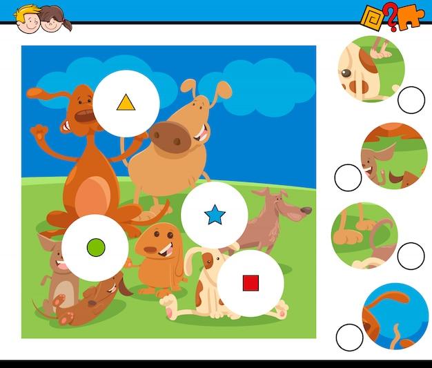 Match de puzzle avec des personnages de chiens mignons