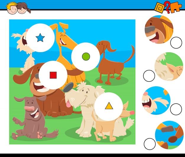 Match de puzzle avec des personnages de chiens