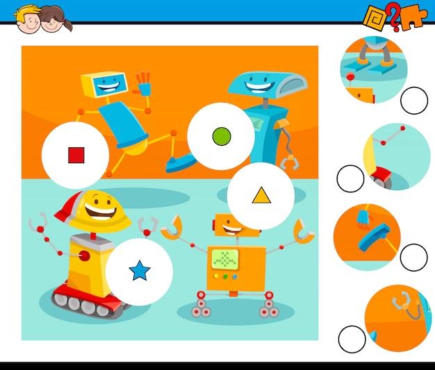 Match de puzzle avec des personnages de robot