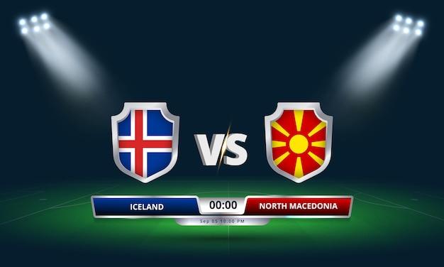 Match de qualification pour la coupe du monde de la fifa 2022 islande vs macédoine du nord