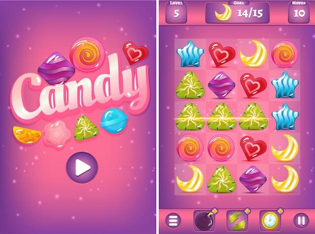 Match trois interface de jeu avec des bonbons et des boosters